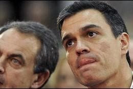 Zapatero y el también socialista Pedro Sánchez.