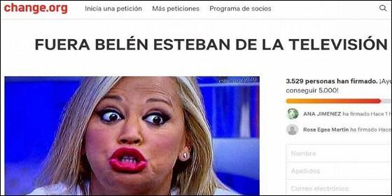 La campaña contra Belén Esteban en Change.org.