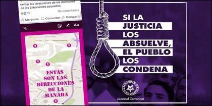 Los carteles a favor del linchamiento, que difunden la Juventudes Comunistas.