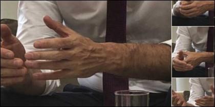 Las manos de Pedro Sánchez, en el tuit de La Moncloa.