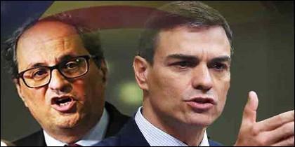 El independentista Quim Torra y el socialista Pedro Sánchez.