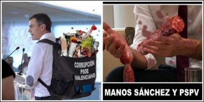 Memes sobre Pedro Sánchez y su forma de dar cuenta de la corrupción del PSOE en Valencia.