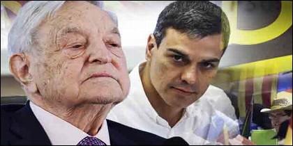 El multimillonario George Soros y Pedro Sánchez.