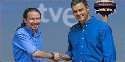Pablo Iglesias (PODEMOS) agradece a Pedro Sánchez (PSOE) que ceda a Podemos el control de RTVE.