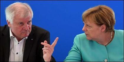 Horst Seehofer and Angela Merkel (ALEMANIA).