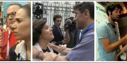 María Gómez, Monedero con Soraya y Milá con un reportero.