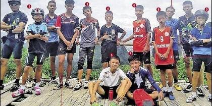 Los jugadores del equipo 'los jabalíes salvajes' atrapados en la cueva de Tailandia.