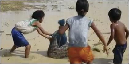 Niños cazan serpiente