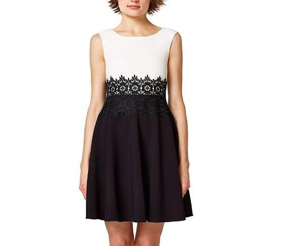 Vestidos elegantes cortos blancos con negro