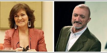Carmen Calvo y Arturo Pérez-Reverte.