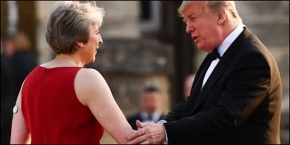 Theresa May y Donald Trump.