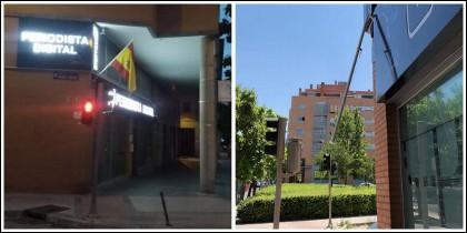 La bandera española que lucía en la fachada de PD y el mástil destrozado.
