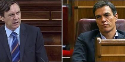 Rafa Hernando contra Pedro Sánchez en el Congreso.