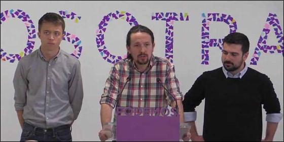 Iñigo Errejón, Pablo Iglesias y Ramón Espinar (PODEMOS).