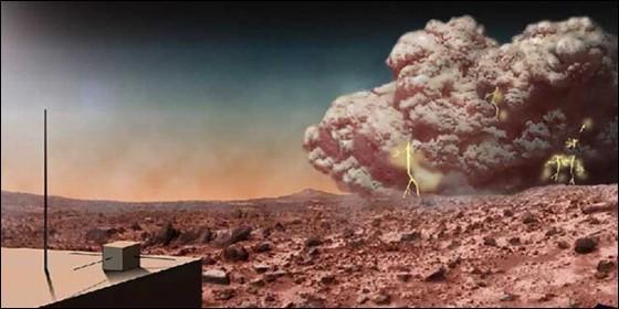 Tormenta de polvo sobre Marte.