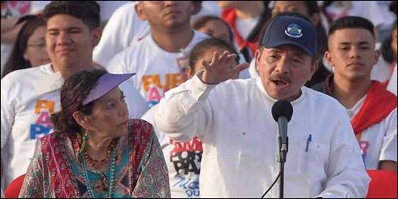 Rosario Murillo, vicepresidenta de Nicaragua y su marido, el tirano sandinista Daniel Ortega, presidented el país.