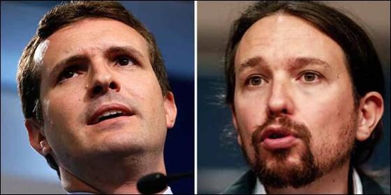 Pablo Casado (PP) y Pablo Iglesias (PODEMOS).