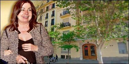 Carmen Martínez Bordiú y el edificio de la calle Hermanos Bécquer de Madrid.