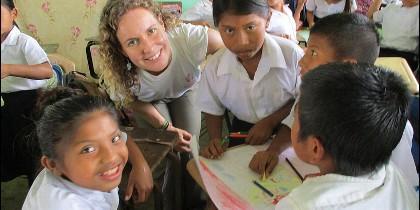 Vanesa, en la escuela de Cerro Culebra
