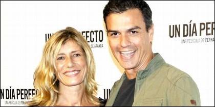 Begoña Fernández,  esposa del presdidente socialista, con Pedro Sánchez.