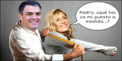 Uno de los memes sobre Begoña Gómez y los enchufes de su esposos, Pedro Sánchez.