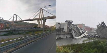 El puente Morandi antes y después del derrumbe.
