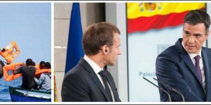 Pedro Sánchez recibe a Macron en Moncloa.