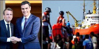 Macron y Sánchez; y el barco Aquarius.