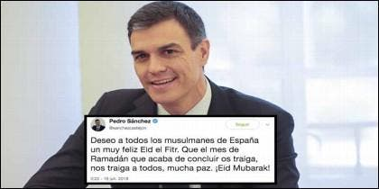 Pedro Sánchez y sus cariñoso tuit a los musulmanes, con motivo del fin del Ramadán.