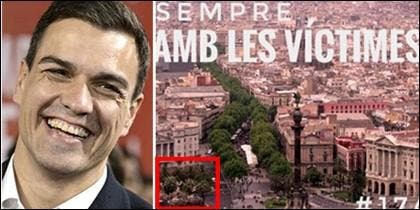 Pedro Sánchez se ríe de su pésimo truquito de Photoshop traidor de España.