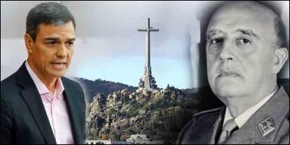 El socialista Pedro Sánchez (PSOE), el Valle de los Caídos y el general Francisco Franco.