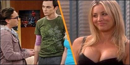 John Mark Galecki 'Leonard Hofstadter', Jim Parsons 'Sheldon Cooper' y Kaley Cuoco 'Penny', en Big Bang Theory.