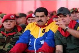 Los chavistas venezolanos Disdodado Cabello, Nicolás Maduro y Padrino López.