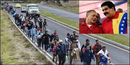 Cientos de miles de migrantes salen de Venezuela, huyendo de la tiranía y la incompetencia de chavistas omo migrantes venezolanos son un montaje contra Maduro o Diosdado Cabello.