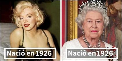 La maciza Marilyn Monroe y la Reina Isabel tenían exactamente la misma edad.