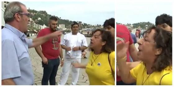 Manuel García, dueño del restaurante de Blanes, enfrentándose a la histérica separarista.