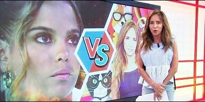 Marí Patiño con Gloria Camila en el videowall
