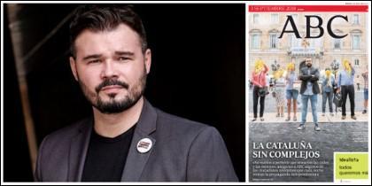 Gabriel Rufián y la portada de ABC del 3-9-2018