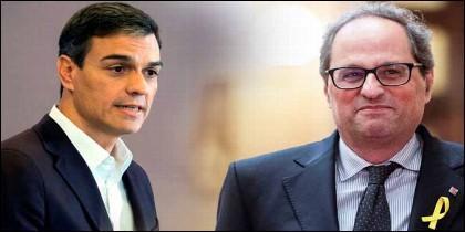 El socialista Pedro Sánchez y el independentista catalán Quim Torra.