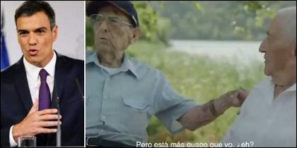 Pedro Sánchez y los dos combatientes del vídeo que celebra el aniversario de la Constitución.