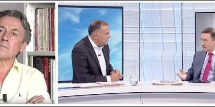 Hermann Tertsch y su amigo Pedrojota en el plató de TVE con Xavier Fortes.