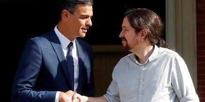 Pedro Sánchez y Pablo Iglesias, en la Moncloa