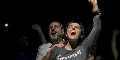 Anna Gabriel, durante un acto electoral en Barcelona.