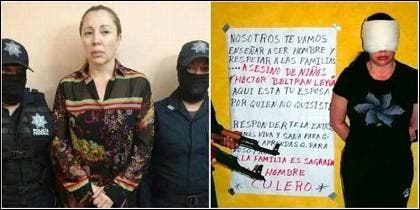 Clara Elena Laborín, 'La Señora',  el día de su detención y cuando fue secuestrada por el Cártel de Sinaloa.