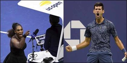 Serena Williams insuklta al árbitro y Novak Djokovic troinda en el US Open de Tenis.