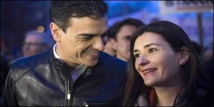 Pedro Sánchez con Carmen Montón (PSOE).