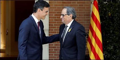 Pedro Sánchez, muy amiguete de Quim Torra.