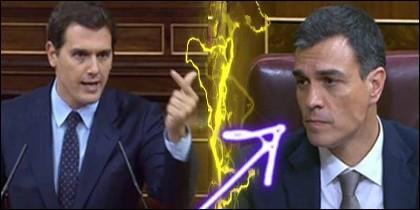 Albert Rivera acorrala a Pedro Sánchez en el Congreso de los Diputados.
