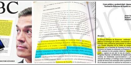 Portada de ABC y la tesis plagiada de Pedro Sánchez.