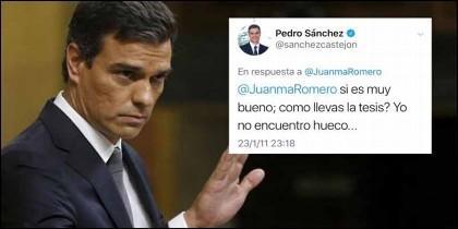 """Sánchez reconoció a un periodista en 2011 que estaba desbordado por la tesis: """"No encuentro hueco…""""."""